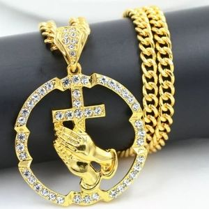 Pretty 18k Prayer Cross Necklace